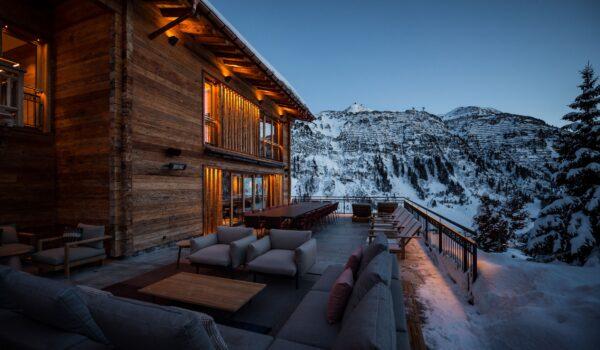 a terrace winter evening